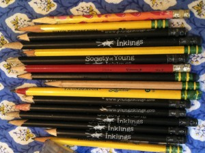 The remaining pencils after a year of writing. We started with 100.